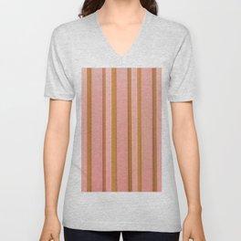 Stripes - Peach Unisex V-Neck