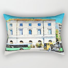 Pescara: bus terminus in front of the old station building Rectangular Pillow