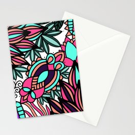 Hand drawn black pink teal modern floral illustration Stationery Cards