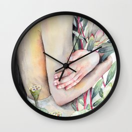 Serena Watercolor Forest Girl, holding Protea and Lotus Plants Wall Clock