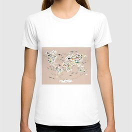 Cartoon animal world map, back to schhool. Animals from all over the world rosybrown background T-shirt