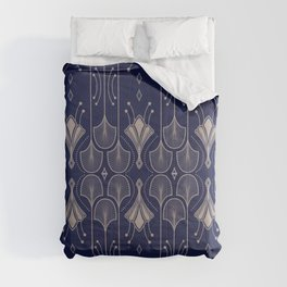 Lily Lake - Retro Floral Pattern Navy Blue Comforters