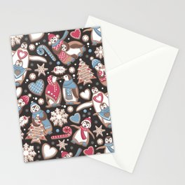 Penguin Christmas gingerbread biscuits Stationery Cards
