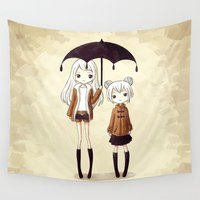 sisters Wall Tapestries featuring Sisters by Freeminds