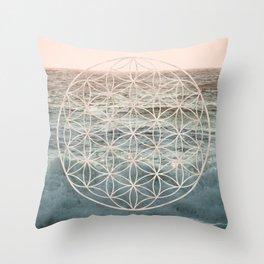 Mandala Flower of Life Sea Throw Pillow