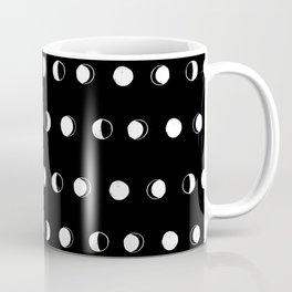 Linocut moon phase black and white minimal college dorm decor basic must haves Coffee Mug