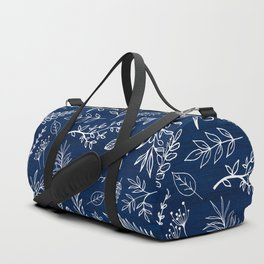 In The Wind - Blue and White Leaf Sketch Duffle Bag