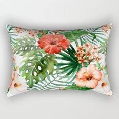 Hibiscus and Palm Leaf Pattern Rectangular Pillow
