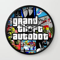 grand theft auto Wall Clocks featuring Grand Theft Autobot (GTA G1 Transformers) by Demonlinks