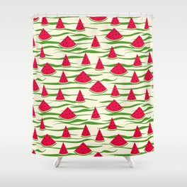 Watermelon pattern . 2 Retro . Shower Curtain