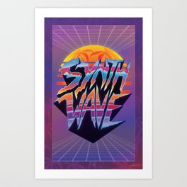 """Synthwave 2.0"" 1980's retro outrun poster Art Print"