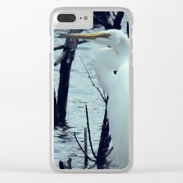 Great Egret White Bird Blue Water A107 Clear iPhone Case