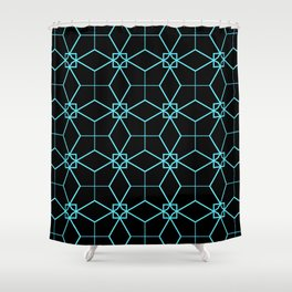 Lacy Pattern - Teal on Black Shower Curtain