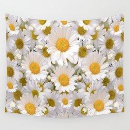 WHITE SHASTA DAISES GARDEN Wall Tapestry