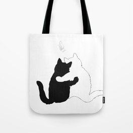 Black and white cats hugging floral decor Tote Bag