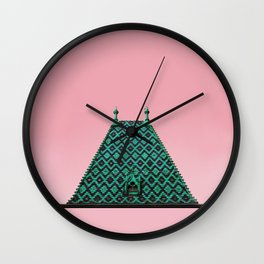 magic roof in Budapest (green) Wall Clock