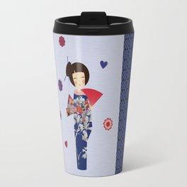 Kokeshi Geisha Japan Blue Travel Mug