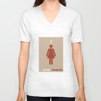 how i met your mother V-neck T-shirts featuring How I Met Your Mother - Minimalist by Marisa Passos