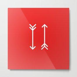 Geometric Shape 5 (White Arrows on Red) Metal Print
