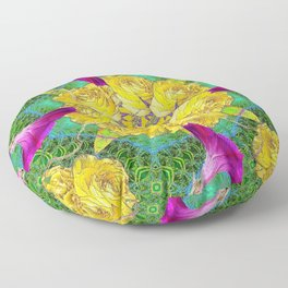 MYSTIC YELLOW ROSES MORNING GLORIES GREEN ART Floor Pillow