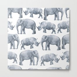 Rhino and elephant Metal Print