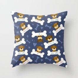 Cute Dog Bones Bow Wow Pattern Throw Pillow