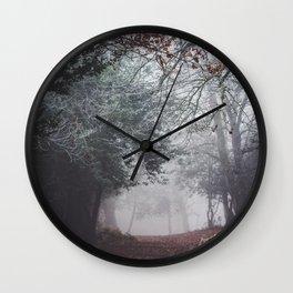 Dark fog forest Wall Clock