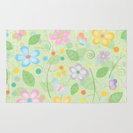 Floral and Butterfly Pattern - Spring Blossom Rug