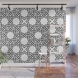 Entwined graphic Lines Home Design - black & white Wall Mural
