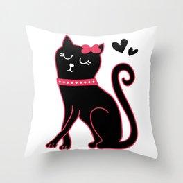 Cute Black Pinky Cat Throw Pillow