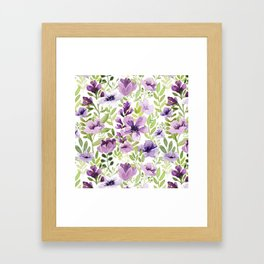 Watercolor/Ink Purple Floral Painting Framed Art Print