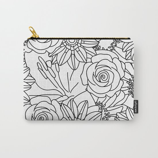 FLOWERS OF SUMMER B/W COLOUR IN Carry-All Pouch