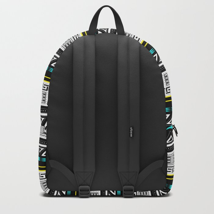 Black and white c turquoise abstract striped pattern . Backpack