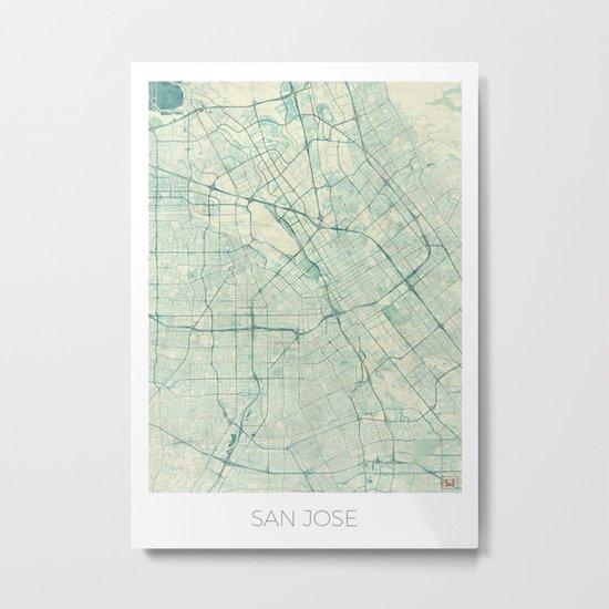 San Jose Map Blue Vintage Metal Print