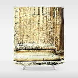 Columns of the Sacred Temple Shower Curtain