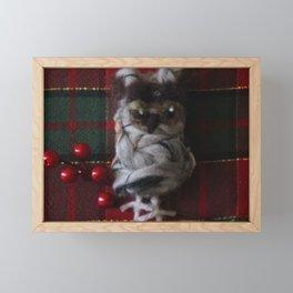 Owl with Berries Framed Mini Art Print