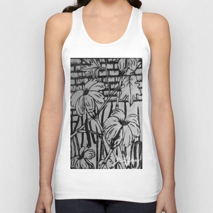 Black and White Palm Flowers by my Mom Unisex Tank Top