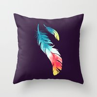 feather Throw Pillows featuring Feather by Freeminds
