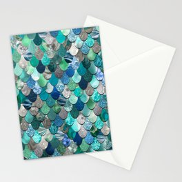 Mermaid Pattern, Sea,Teal, Mint, Aqua, Blue Stationery Cards