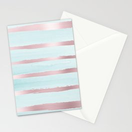 Abstract geometric neo mint metalic pink watercolor  Stationery Cards