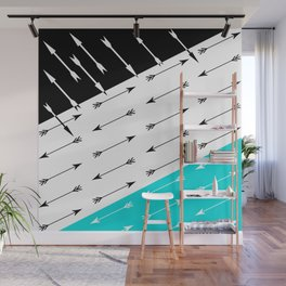 Turquoise black white pattern Boom 2 . Wall Mural