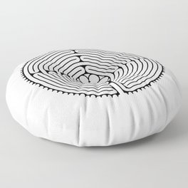 Cathedral of Our Lady of Chartres Labyrinth - Black Floor Pillow