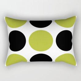 Mid Century Modern Polka Dot Pattern 9 Black and Chartreuse Rectangular Pillow