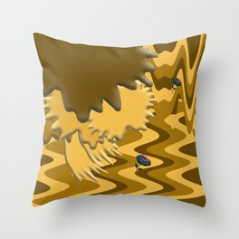 Shades of Brown Waves Throw Pillow