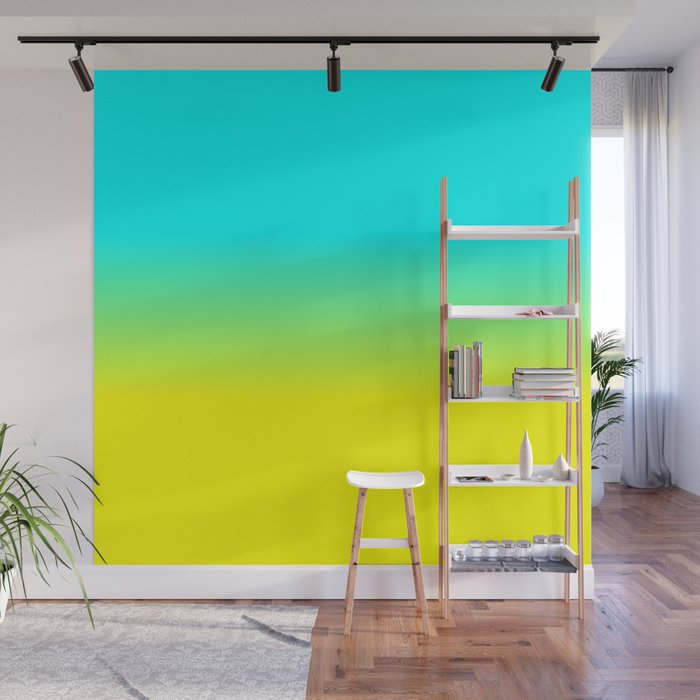 Neon Aqua and Neon Yellow Ombré Shade Color Fade Wall Mural by ...