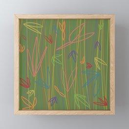 Rainbow Flora & Stems - Green Framed Mini Art Print
