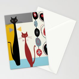 Mid-Century Modern Art Cats Stationery Cards