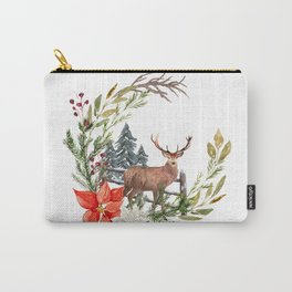 Woodland Deer Wreath Carry-All Pouch