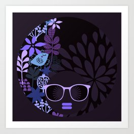 Afro Diva : Sophisticated Lady Purple Lavender Art Print
