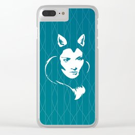 Faces - foxy lady Marlene on a teal wavey background Clear iPhone Case